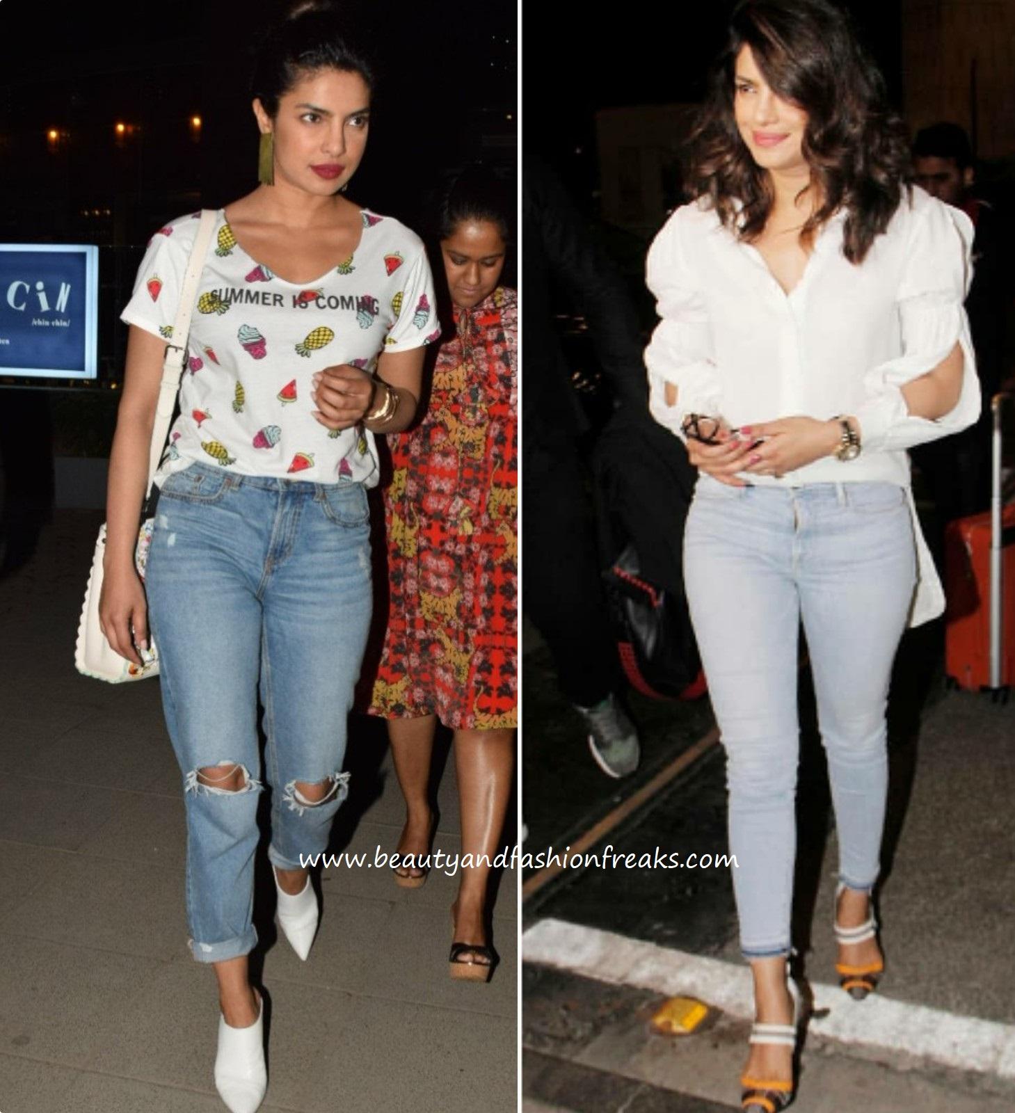 d85fc540a9ea Priyanka Chopra In White Tops And Denims In Mumbai