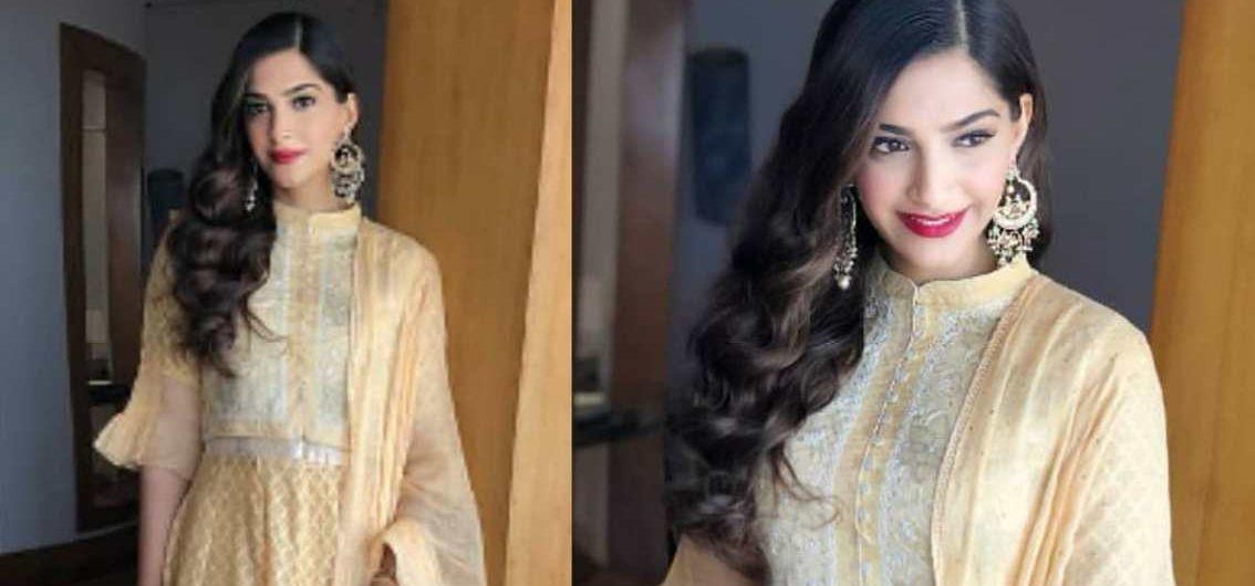 Veere Di Wedding Outfits.Sonam Kapoor In House Of Kotwara At Veere Di Wedding Promotions